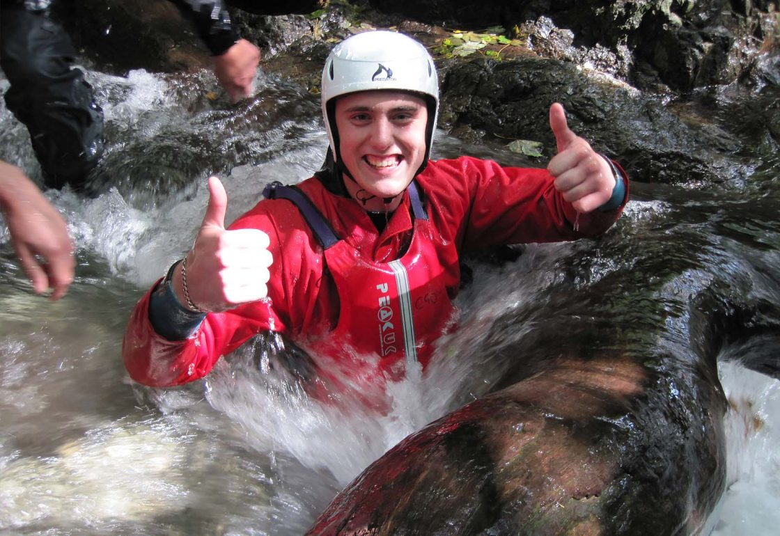 An image of a guy with his thumbs up taking part a Climbing Out activity , a charity supported by the Ellis Campbell Foundation, helping disadvantaged young people in Hampshire, London and Perthshire