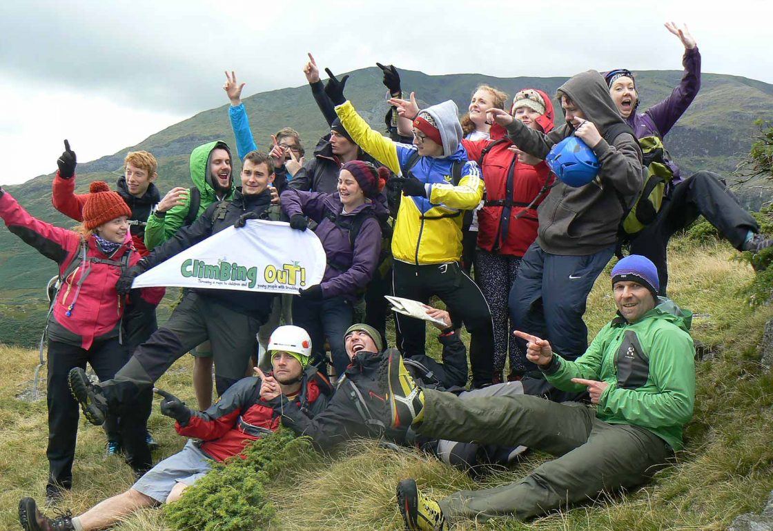 An image of a group of young people hill walking taking part a Climbing Out activity , a charity supported by the Ellis Campbell Foundation, helping disadvantaged young people in Hampshire, London and Perthshire