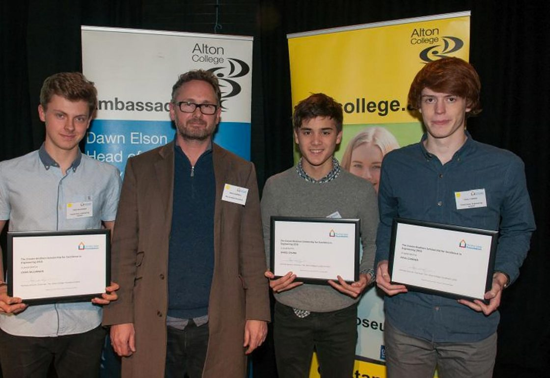 An image of Jamie Campbell presenting scholars from Alton College with Craven Brothers Scholarships in February 2016 - An Ellis Campbell Foundation charitable grant in Hampshire