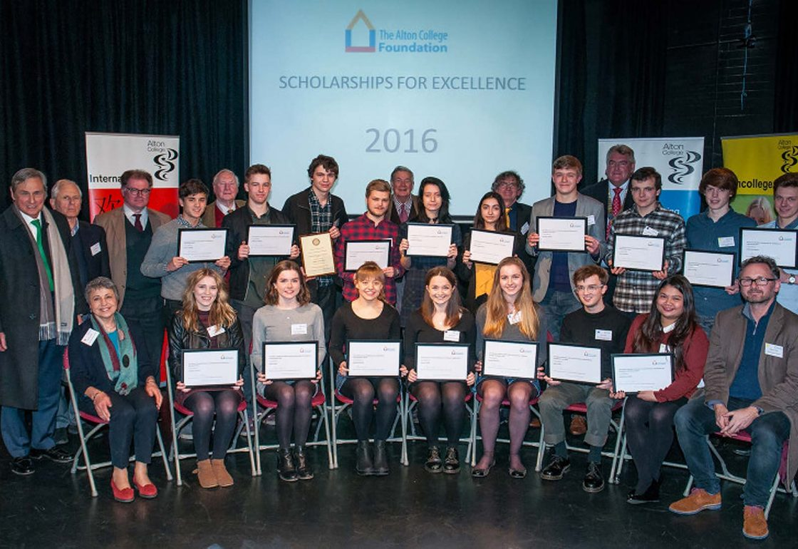 A colour photo of Jamie Campbell with scholars from Alton College with Craven Brothers Scholarships in 2016 - An Ellis Campbell Foundation charitable grant in Hampshire