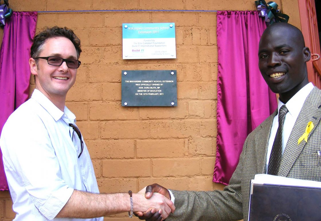 An image of Jamie Campbell at the official opening ceremony of the Makangwe Community School, a build It International project supported by the Ellis Campbell Foundation, helping disadvantaged young people in Hampshire, London and Perthshire