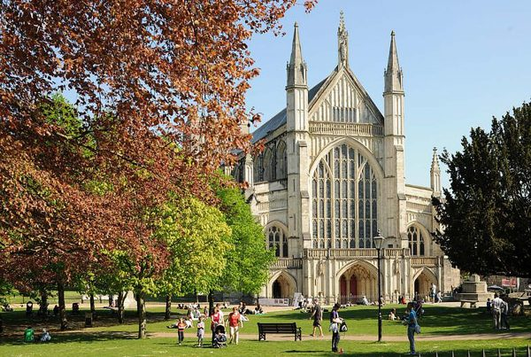 An image of the exterior of Winchester Cathedral, representing the Birth of a Nation project, a charity supported by the Ellis Campbell Foundation, helping disadvantaged young people in Hampshire, London and Perthshire