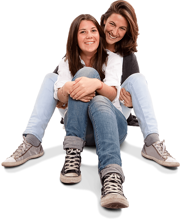An image of mother and daughter sat on the floor smiling used for the Ellis Campbell Foundation homepage, a charity making grants in Hampshire, London and Perthshire