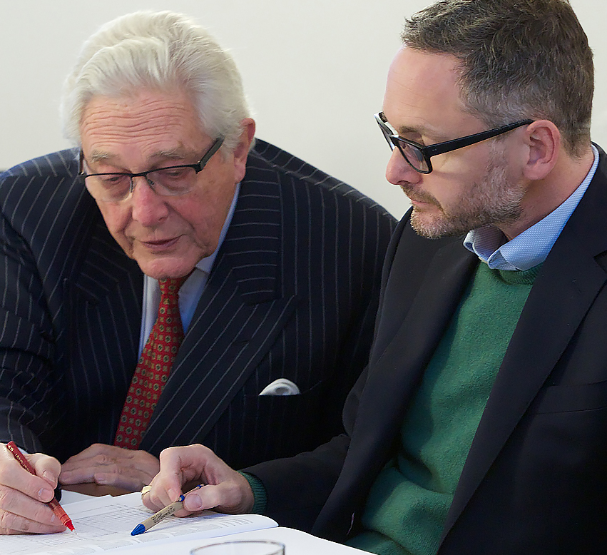 An image of Michael and Jamie Campbell at a board meeting focused on the About Us page of the Ellis Campbell Charity Foundation website helping disadvantaged young people in Hampshire, London and Perthshire