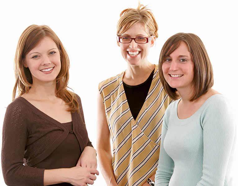 An image of a group of three ladies smiling used on the Contact the Ellis Campbell Foundation page of their website, An image of the Ellis Campbell Foundation logo background effect white, a a charity making grants in Hampshire, London and Perthshire