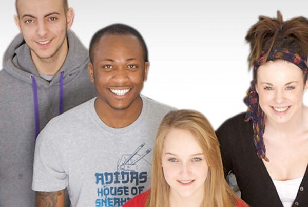 An image of a group of young people of mixed race smiling representing the Resurgo Grant made by the Ellis Campbell Foundation helping disadvantaged young people in Hampshire, London and Perthshire