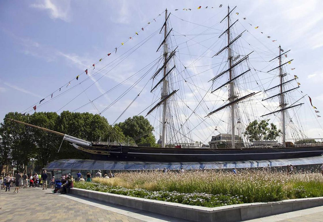An image of Cutty Sark representing the Lifeboats Conservation Project grant at the Royal Museum Greenwich made by the Ellis Campbell Foundation helping disadvantaged young people in Hampshire, London and Perthshire