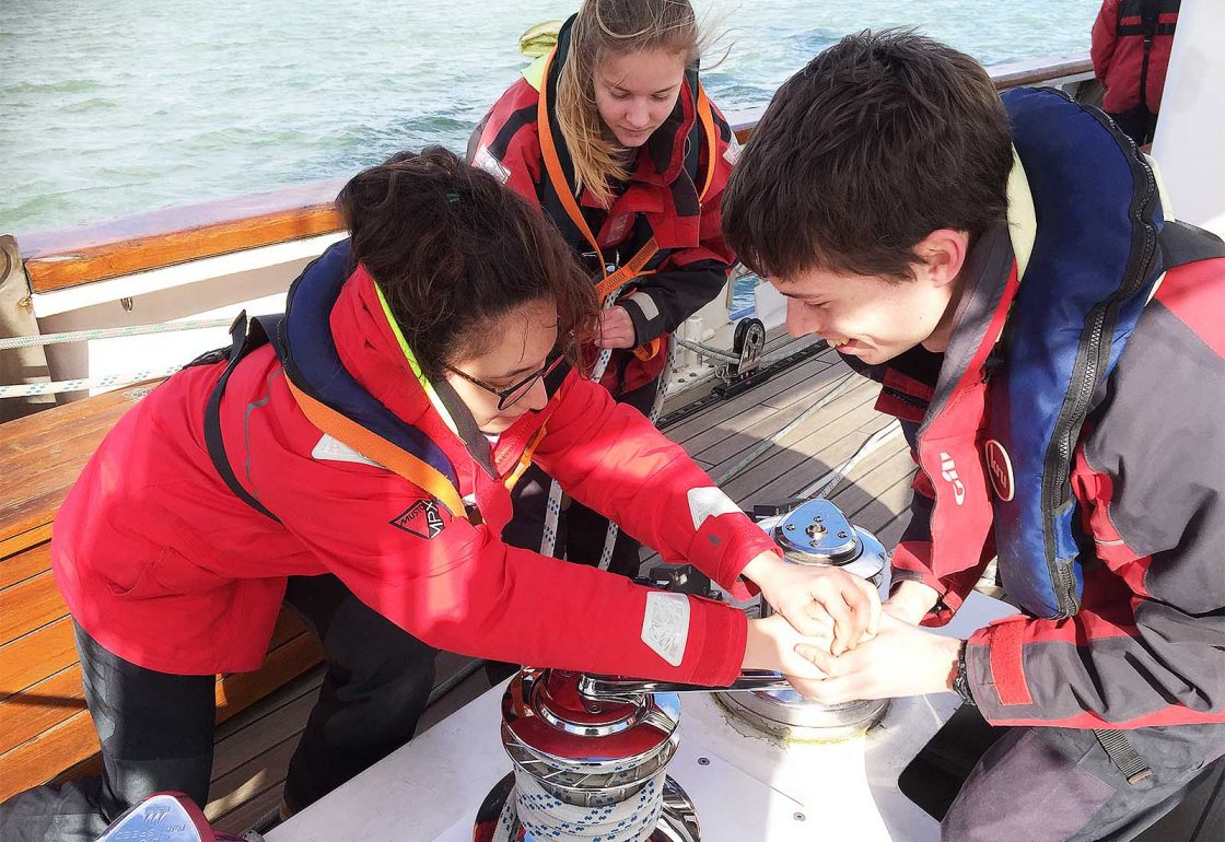 An image of a group of young people aboard the sailing boat Prolific part of Ocean Youth Trust South, a charity supported by the Ellis Campbell Foundation, helping disadvantaged young people in Hampshire, London and Perthshire