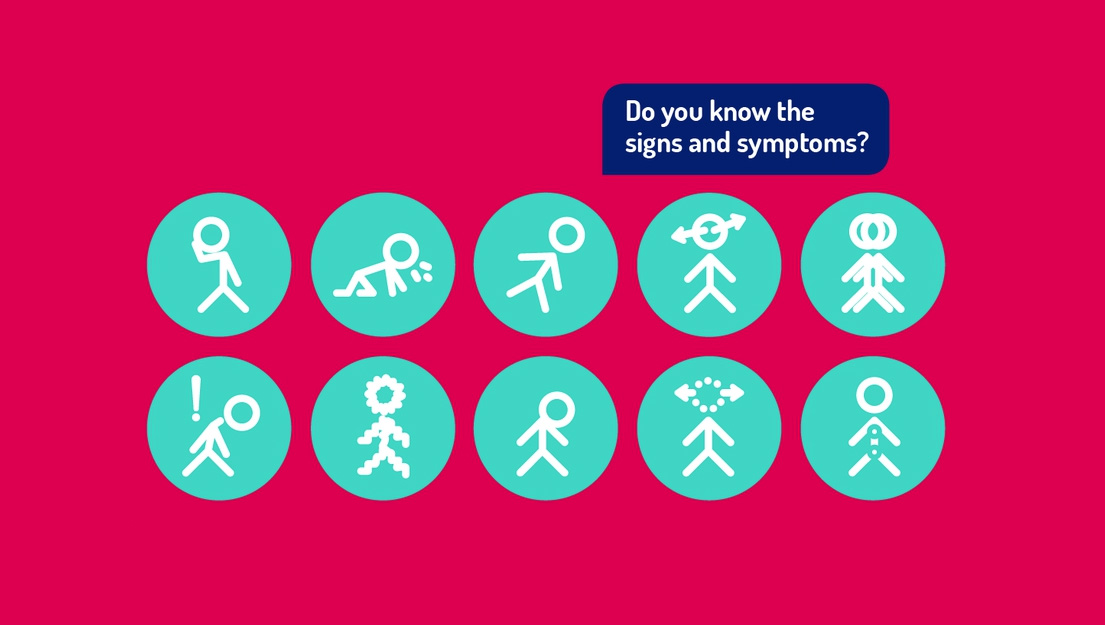 "A colour image of the ""Do you know the signs and symptoms?"" awareness poster used by the Headsmart brain tumour charity supported by the Ellis Campbell Foundation"