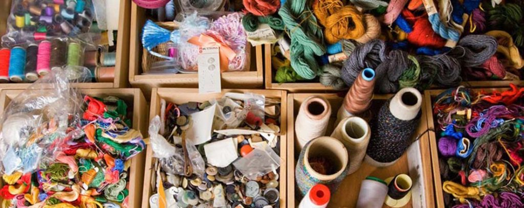 A colour image of lots of different brightly coloured craft materials used on Remake Scotlands website a charity supported by the Ellis Campbell Foundation
