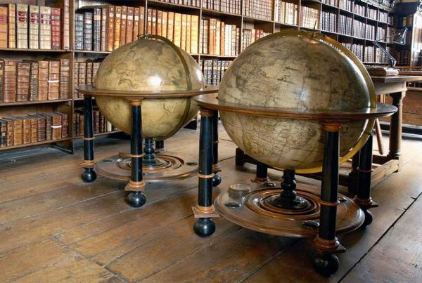 A colour image of the The Winchester Cathedral Blaeu Globes. A conservation project supported by The Ellis Campbell Foundation